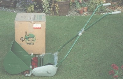The Ransomes Ajax was a popular hand mower from the 1930s to the 1970s. This particular mower is a Mark 5, complete with its grass box and the packing case it was supplied in when new.