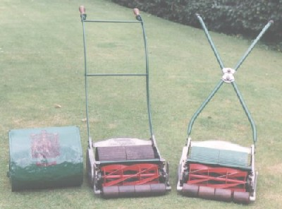 "Early Ransomes Ajax mowers had ""parallel"" handles but later models had an ""X"" configuration."