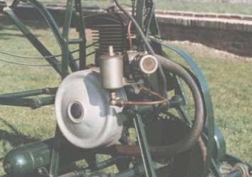 "Close up of 18"" Atco Standard, showing Senspray carburettor and Villiers 147cc two-stroke engine."