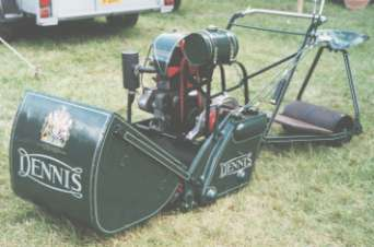 The Dennis Motor Mower in classic configuration with a trailer seat.
