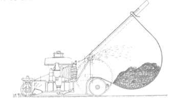 Diagram showing the basic layout of the Rotoscythe. The engine is mounted so that the crankshaft extends into the lower chamber where the impeller/disc spins to cut the grass, which is in turn ejected into the box at the rear.
