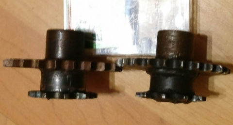Replacement (L) and original (R) Morrison sprockets